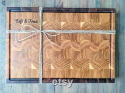 End Grain Board with Juice Groove, Butcher Block Board Walnut and Cherry with Juice Groove