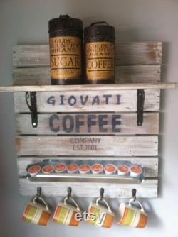 Enseigne de café, Bar à café, Décor de bar à café, Étagère de bar à café, Décor de café, Porte-tasse à café, Bar à café personnalisé
