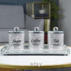 Ensemble 4PC de thé, sucre, café avec plateau boîtes concassées d argent de diamant pots pour le décor de cuisine et le stockage