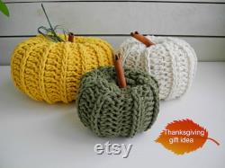 Ensemble de 3 Citrouilles au Crochet, Décor d Halloween, Pièce maîtresse rustique, Fait à la main avec du fil de coton
