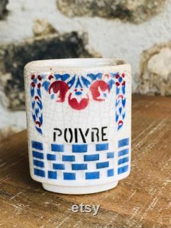 Ensemble de 5 pots à épices fran ais en céramique 1920's