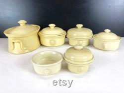 Ensemble de 6 Fran ais Terrines antiques, Pots glacés, Pots de Foie Gras, Poignées de tête de lion, Kitchenalia, Cuisine de campagne