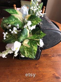Ferme, mariage, pays, pièce maîtresse rustique pièce maîtresse boîte à lunch en métal pièce maîtresse fleur blanche printemps, pièce maîtresse d été