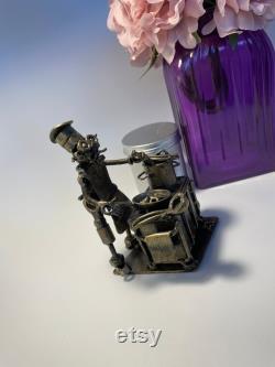 Figurine de chef de cuisinier en métal, cadeaux d amusement cuisinent la statue en métal, décor à la maison de salle à manger, statue de cuisinier de navire, miniature de chef d article colectible, art peu commun