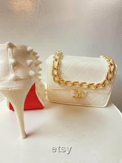 Fondant chaussures and sac toppers gâteau pour gâteaux de mode et décoration gumpaste fait à la main