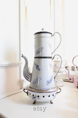 Fran ais pot de café en émail Biggin avec warmer, 1880's, cadeau de Noël