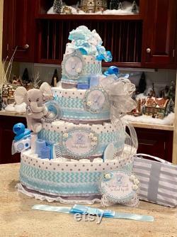 Gâteau de couche bleu d éléphant de niveau, pièce maîtresse de douche de bébé, gâteau de couche d éléphant pour le bébé gar on