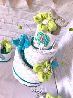 Gâteau de couche d'éléphant Elephant douche de bébé pièce maîtresse Elephant baby shower décor Gâteau de couche-culotte pour le gar on cadeau de bébé personnalisé Aqua Lime vert