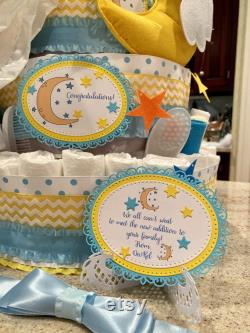 Gâteau de couche de 5 niveaux, twinkle Twinkle Little Star Diaper Cake, Love You To The Moon and Back Diaper Cake