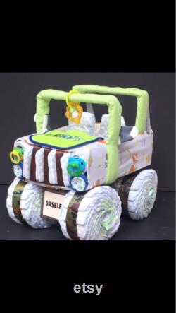 Gâteau de couche de bois, douche de bébé de bois, animaux de bois, cadeau de douche de bébé, gâteau de couche, jeep de couche, pépinière de bois