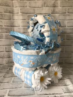 Gâteau de couche de calèche pour un nouveau bébé gar on Cigogne Buggy Diaper Cake Pièce maîtresse de douche de bébé Chariot de couche Cadeau de poussette avec n ud papillon pour bébé