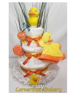 Gâteau de couche de canard, douche de bébé de canard, pièces maîtresses de canard, gâteaux de douche de bébé de canard, gâteaux de bébé, cadeaux de douche de bébé, cadeau neutre de genre, bébé
