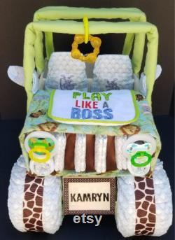 Gâteau de couche de jungle, gâteau de couche de jeep, douche de bébé de safari, gâteau de couche de douche de bébé de jungle