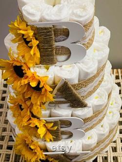 Gâteau de couche de tournesol 4 niveaux bébé ou bébé gar on neutre de genre