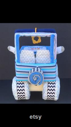 Gâteau de couches bleu, gâteau de couches jeep, gâteau de couches, couches jeep, gâteau de couches unique, cadeau unique bébé, bébé de gâteaux de couches, idées de douche de bébé,