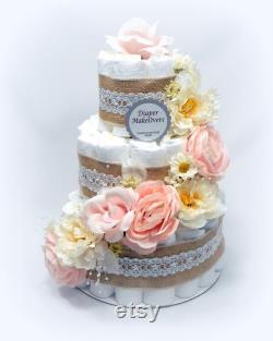 Gâteau floral assorti de couche et bouquet de couches gâteau rose de couche pièce maîtresse de douche de bébé gâteau de couche de fille combo de gâteau de couche de fleur