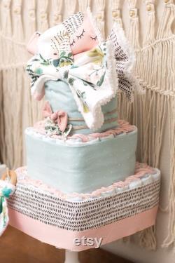 Gâteau floral de couche bébé fille de couche carrée à 3 niveaux ou pièce maîtresse de douche-BOUQUETS-EXPÉDITION LIBRE