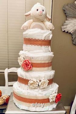 Gâteau rustique de couche-culotte rose blush