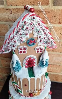 Gingerbread maison gâteau de Noël décoration pièce maîtresse faux gâteau de Noël faux cuire noël pain d épice maison goutte à goutte gâteau