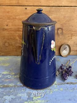Grande pot de café antique Fran ais émail avec des roses et du lys de la vallée, Fran ais cafetière, conception de fleur peinte à la main, années 1920