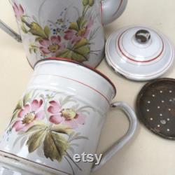 Haut Vintage Fran ais Floral cafetière émaillée Blondine pot cruche bouilloire café Pot délicieuse rouge, blanc et à la main peint fleurs métal émaillé