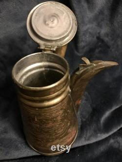 Iskandar Matar And Sons Arabian Handmade Copper Brass Jug Coffee Pot Teapot Tankard 8
