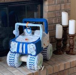 Jeep de couche bleue, cadeau de douche de bébé, gâteau de couche, jeep de couche, cadeau unique de bébé