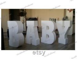 LETTRES BABY Lettres de douche bébé pièces maîtresses partie 30 pouces de haut 8 pouces de profondeur Ensemble de 4 lettres en mousse géante Lettre de base de table 3D