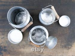 LOT DE 3 Pots à lait vintage, Bidon à lait en métal, Décoration rustique
