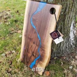 Live Edge Walnut and Epoxy Resin River Charcuterie Board