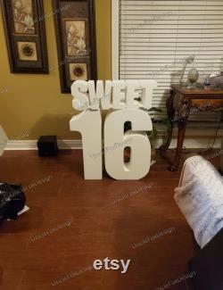 Livraison gratuite Set Sweet 16 Numéros géants 30 pouces Grandes lettres debout Sweet 16 numéros Numéros énormes Numéros de table Numéros de polystyrène