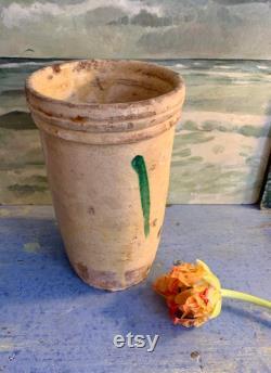Magnifique pot italien jaune-vert doux antique, pot confit, pot antique rare de stockage italien, pot en terre cuite glacé, terre cuite italienne
