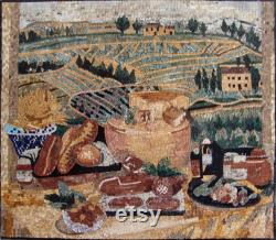 Mosaic Kitchen Backsplash Scène Wheet