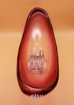 Murano Glass Pièce maîtresse Plum red ruby Sommerso Vase