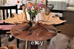 Noyer, bol de sculpture de centre de table d érable fait main