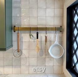 Panier rustique en fer et cintre pan rack pour cuisine, industriel solide, noir, laiton antique
