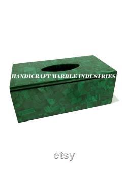 Papier de soie Boîte Malachite verte, pour table de salon, vaisselle à dinning, dressing, vanité accessoires de salle de bains, décor de salle de bains
