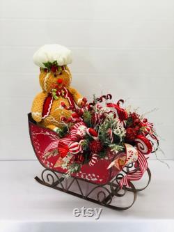 Pièce maîtresse de Noël-Table pièce maîtresse-Christmas Sleigh Pièce maîtresse-Arrangement de Noël-Pièce maîtresse de pain d épice-pièce maîtresse fantaisiste