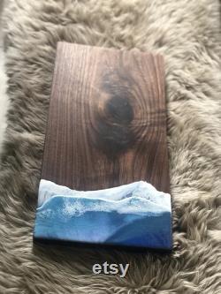 Planche de service de thème d océan de noyer noir, pièce maîtresse, planche de charcuterie, décoration