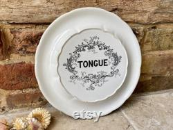 Plaque de langue de fer blanc édouardienne antique Plat ou plateau d affichage des bouchers du début des années 1900