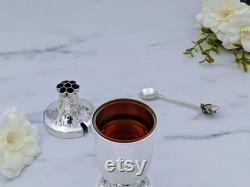 Plat de miel d argent sterling, conception originale de Bier, pot de miel de Rosh Ha s shana, finlandais martelé, pièce maîtresse de décor de table d argent, cadeau de nouvel an