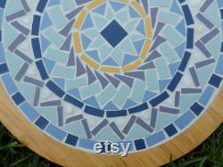 Platine mosaïque personnalisée de 10 pouces Faite sur commande Mosaïque géométrique mandala Bamboo Trivet 10 pouces De diamètre uvre d art fonctionnelle Fait main