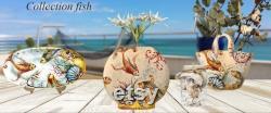 Poterie italienne d art céramique servant la pièce maîtresse peinte à la main modèle de poisson de mer Toscan made in ITALY Florence