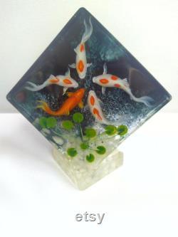 Résine Peinture-5 Poissons Koi Dans un ruisseau, uvre d art résine, décor de table basse, cadeau pour amoureux de poisson, meilleur décor de bureau, cadeau de réchauffement de maison