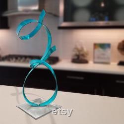 Sculpture en métal, pièce maîtresse moderne, décor de table basse, cadeau unique pour le décor de bureau Accent d allure d Aqua par Jon Allen