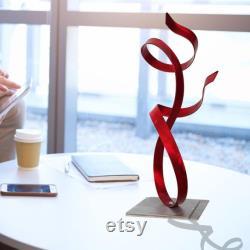Sculpture en métal, pièce maîtresse moderne, décor de table basse intérieur art extérieur, décor unique de vacances de cadeau accent rouge d allure par Jon Allen