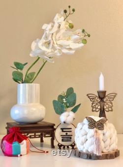 Set6 gâteau de fil de type3 mini soban en bois (6.5 ) bannière en bois support de bougie de papillon pour la célébration dohl 100day