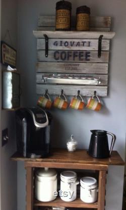 Signe de barre de café, station de café, signe de café, signe de panier de café, décor de barre de café, support de tasse de café, plateau de barre de café, support de tasse de café
