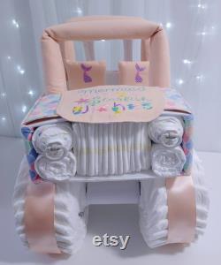 Sirène sous thr Sea Jeep Gâteau à couches pour bébé fille Baby Shower Cadeau et pièce maîtresse