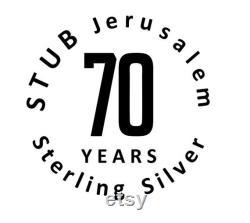 Sterling argent plat de miel fait à la main, Nouvel An, Judaica, Shabbat, cadeau religieux, Chandelier de cérémonie, Art israélien, cadeau de mariage